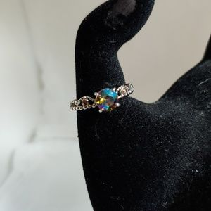 Silvertone Roped Crown Ring with Mystic Topaz